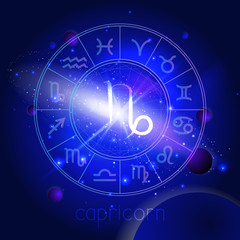 Vector illustration of sign CAPRICORN with Horoscope circle against the space background.
