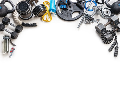 Sports equipment on a white background. Top view. Motivation