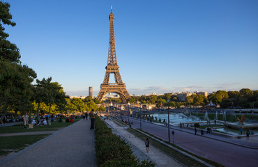 PARIS, FRANCE, SEPTEMBER 7, 2018 - View of Eiffel Tower from Trocadero in Paris, France.