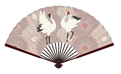 Ancient Chinese Fan with A Grus Japonensis On It