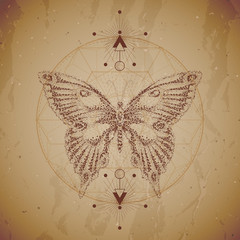 Vector illustration with hand drawn butterfly and Sacred geometric symbol on vintage paper background. Abstract mystic sign. Dot graphics. Dotted contour.