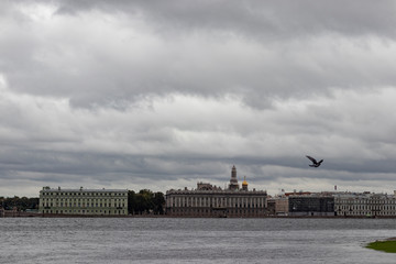 Wide river canal view on Saint Petersburg's skyline