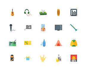 Set Of 20 icons such as Stage, Beer, Maloik, Drums, Cigarettes, Sound mixer, Big screen, Water bottle, Radio, Cassette, Tissue, icon pack
