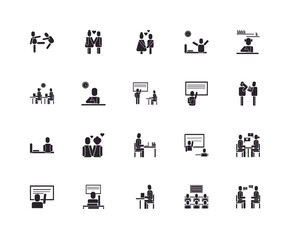 Set Of 20 icons such as Talking, Classroom, Learning, Answer, Student, Teacher, Studying, Sleepy, , In love, icon pack