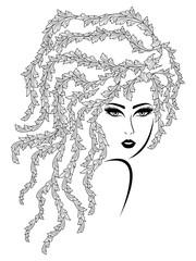 Black contour of charming girl