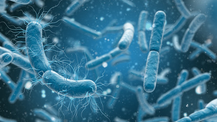 3D rendering bacteria closeup in blue background.