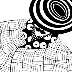 Man in coat and hat. Coloring book page for adult. Hand drawn hipster man. Black and white illustration. Line art.