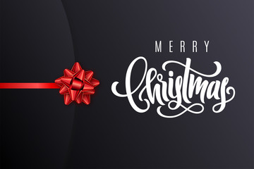 Holiday gift card with hand lettering Merry Christmas and bow. Template for a banner, poster, invitation