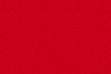 Holiday Christmas red background with icons and copy space. Template for a banner, poster, shopping, discount