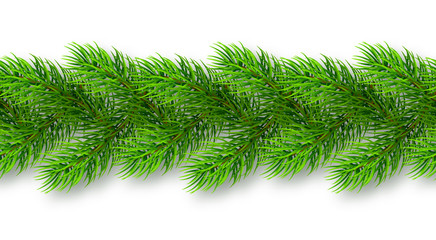 Seamless realistic Christmas garland from fir tree branches with shadow