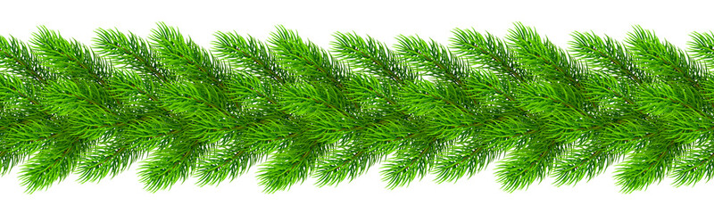 Seamless realistic Christmas borders from fir tree branches. Template for a banner, poster, invitation