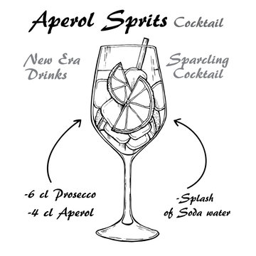 Aperol Sprits Cocktail vector Sketch illustration recipes