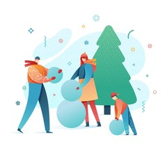 Design happy new year illustration family making a snowman. . Cute flat parents and kids character in a modern style. Happy holiday poster with winter activity outdoors. Vector.