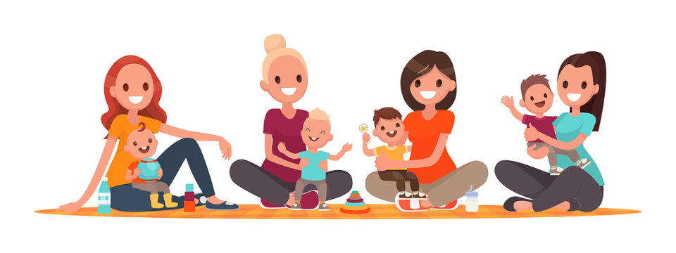 Group of mothers with babies. Club of young mothers. Mommies are sitting with children