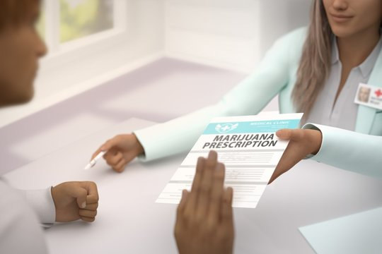 Medical illustration with selective focus - pretty female medical doctor gives patient medical marijuana prescription and patient do not accept it - declines it and refuses to take it, 3D illustration