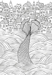 The mermaid tail on the waves. Seaside, homes, sea, art background. Hand-drawn doodle vector. Zentangle style. Black and white vector illustration.