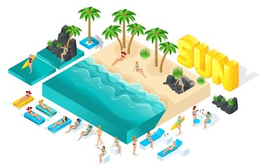 Isometric cartoon vector people, 3d girl in bathing suits, large set of elements for creating her beach with beautiful sea waves bright summer vector illustration