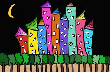 olorful hand draw digital illustration of urban city building with green forest