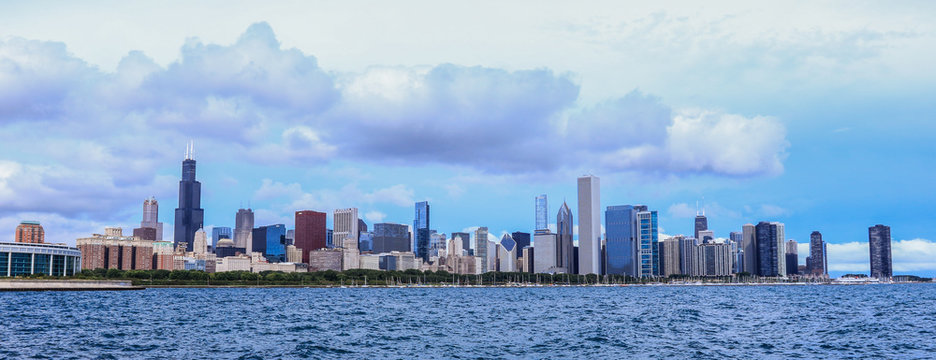 Panoramic Day View to the Chicago Skyline, United States