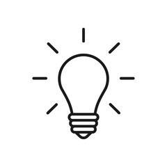 Black isolated outline icon of light bulb on white background. Line Icon illuminated lamp. Symbol of idea, creative.