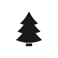 Black isolated icon of fir tree on white background. Silhouette of christmas tree. Flat design.