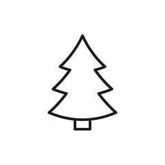 Black isolated outline icon of fir tree on white background. Line Icon of christmas tree.