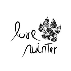 Vector illustration of text love winter and dog´s paw.