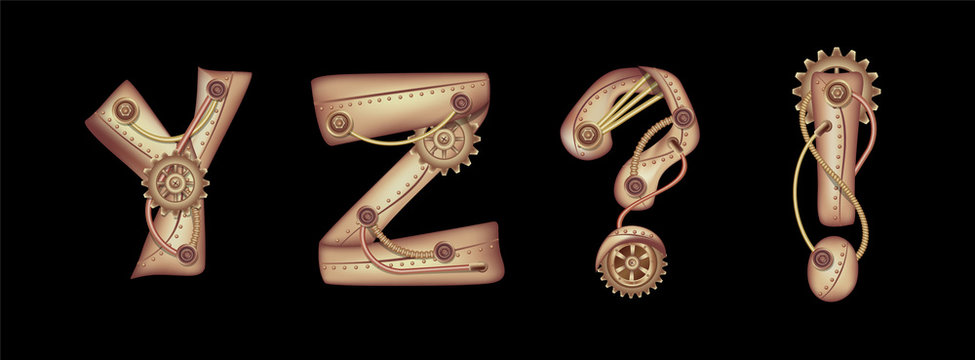 Symbols of the Latin alphabet Y Z and punctuation marks. The letters of the English language. Copper and brass steampunk mechanisms with tubes, gears and rivets. Freely editable isolated on black back