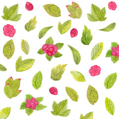 Pattern of watercolor flowers and leaves