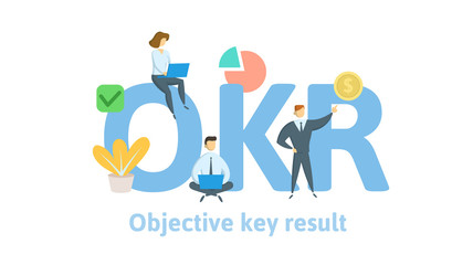 OKR, objectives and key results. Concept with keywords, letters, and icons. Colored flat vector illustration. Isolated on white background.