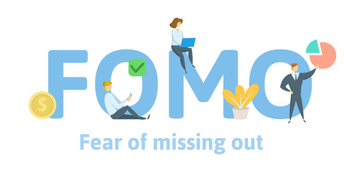 FOMO fear of missing out. Concept with keywords, letters, and icons. Colored flat vector illustration. Isolated on white background.