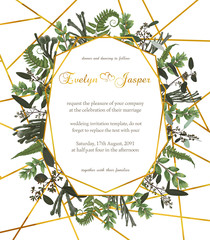 Design watercolor vector geometric golden frame on a white background with leaves of forest fern, boxwood and eucalyptus branches, brunia. Can be used for wedding invitations, postcards, posters