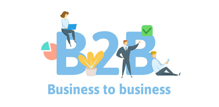 B2B, Business to business. Concept with keywords, letters, and icons. Colored flat vector illustration. Isolated on white background.