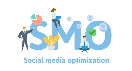 SMO, social media optimization. Concept with keywords, letters, and icons. Colored flat vector illustration. Isolated on white background.