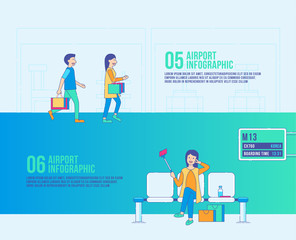 Airport step infographic travel vector. duty free, transport, boarding time.