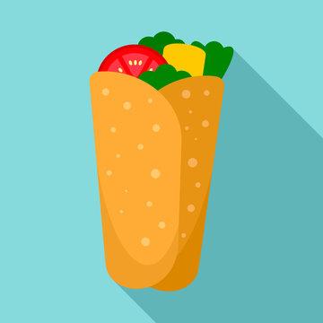Burrito icon. Flat illustration of burrito vector icon for web design