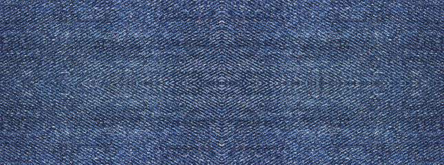 Blue Denim Jeans Texture Background of Seamless Empty Fabric, Close Up Top View Banner. Blank Jean...