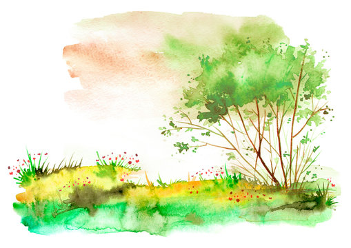 Watercolor summer landscape. Green tree, bush on a bright grass. On the bank of a river, a lake. Windy day. Beautiful art illustration.