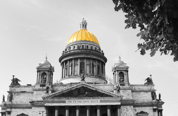 St. Isaac's Cathedral Black and White Image with Isolated Golden Color Dome in Saint Petersburg, Russia. Tourist City Landmark, Creative Vintage Photo Effect of Russian Church Architecture Outdoors