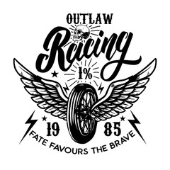 Outlaw racing. Emblem template with biker skull. Design element for poster, t shirt, sign, label, logo.