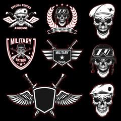 Set of military emblems with paratrooper skull. Design element for poster, card, label, sign, card, banner.