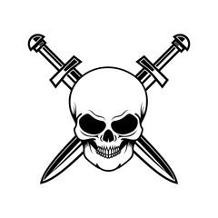 Skull with crossed swords. Design element for logo, label, sign, poster, t shirt.