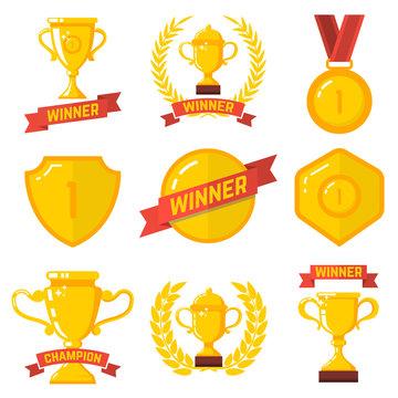 Set of winner emblems in flat style. Design element for logo, label, sign, poster, t shirt.