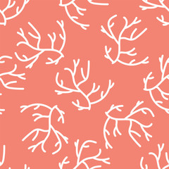 Coral Seamless Background in Minimalist Modern Style. Vector Illustration.