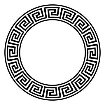 Nahtloser Maze und meander ring in schwarz weis auf einem isolierten weißen Hintergrund.