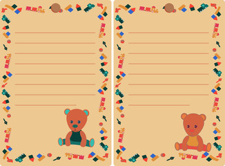 set tag with teddy bear and toys for boy and girl