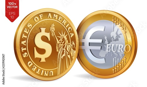 Euro Isometric Physical Golden Coins With Dollar And Symbol American