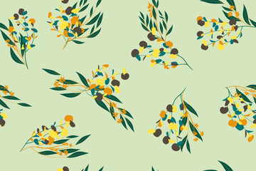 Bright Floral Seamless Pattern. Vector Eucalyptus Leaves and Beautiful Blossom Elements. Colorful Botanical Summer Background. Floral Seamless Pattern for Wedding Design, Print, Textile, Fabric, Paper