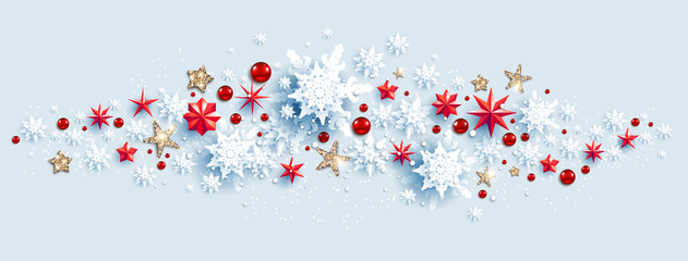 Fotomurales - Web Banner Social Media template. Winter decoration with snowflakes, stars and baubles festive luxury background