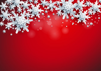 Fotomurales - Realistic shine Banner with place for text template. Shine winter decoration on red bright background with snowflakes and stars